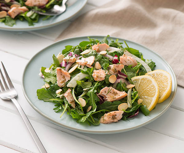 Photo of - Hot Salmon Salad with Lemon Dill and Citrus Vinaigrette