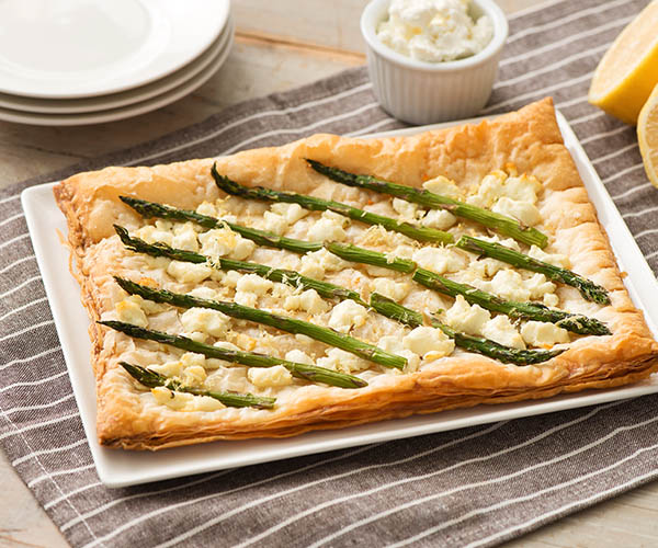 Photo of - Puff Pastry Goat Cheese and Asparagus Tart