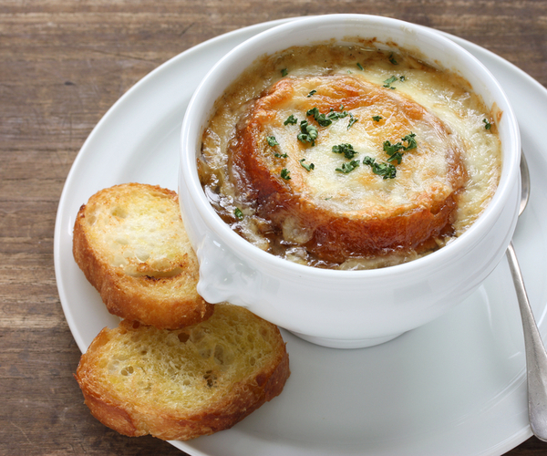 Photo of - French Onion Soup with Croutons au Gratin