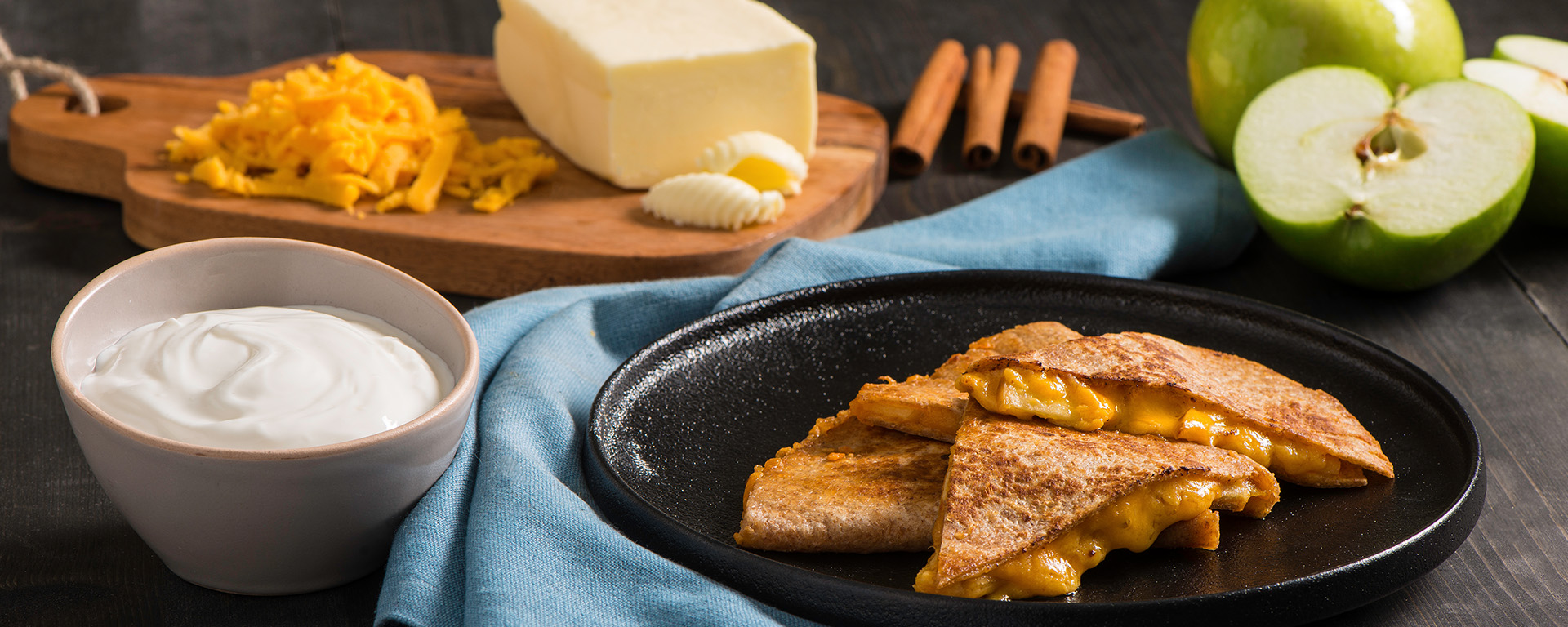 Photo for - Apple Cheddar Quesadilla with Creamy Cinnamon Cottage Cheese